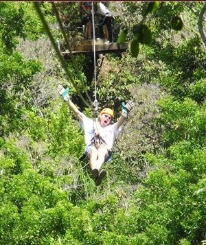 Even Grandpa Jerry cut loose on a zip-line during a cruise with his kids and grandkids.