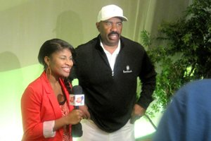 Deidra Shores with Steve Harvey, host of Family Feud. The comedian and actor partnered with Disney to host the Dreamers Academy event.