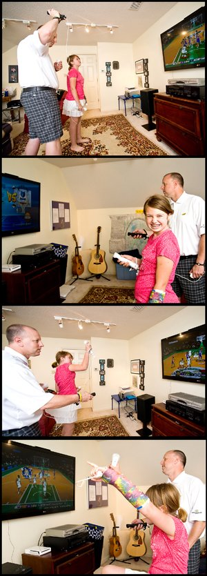 """Chloe and her dad, Todd Treible, love playing the Wii together. """"I think I'm her comfort zone,"""" says Treible of his 10-year-old."""