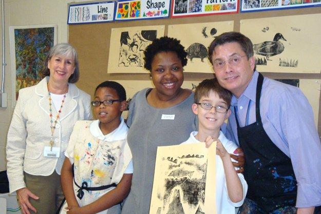 Librarian Stephanie Rodda and artist David Mah with  Jordan Saulsberry, Nikki Cobbins, & Alex O'Connor.