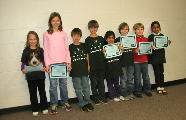 Several grade-level winners from Dogwood Elementary. Each grade had three top readers and one top fund-raiser.