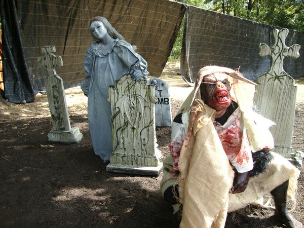 Ghouls lurking at the cemetery.