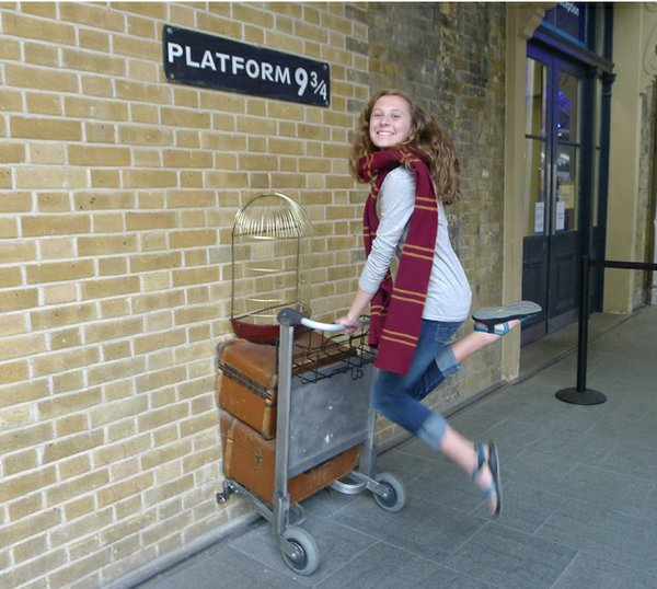 Kara at Harry Potter's Platform 9 3/4