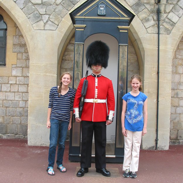 Kara (left) and Ella with a guard at Westminster Castle