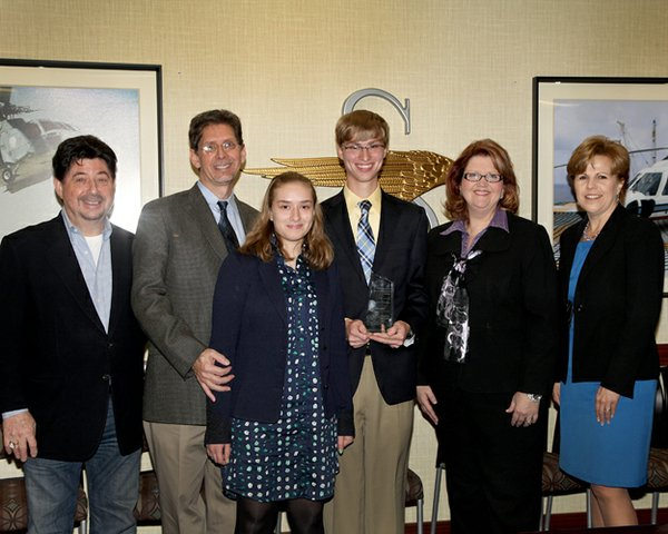 In November, Hudson travelled to Sikorsky headquarters with his father, sister Anna, and his teacher, Shelli Basher, to receive his award.