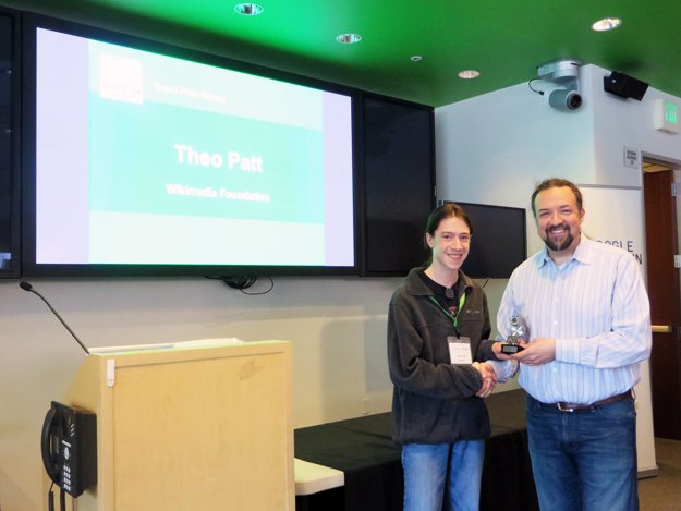 Grand prize winner Theo Patt with Chris DiBona, director of open source at Google.
