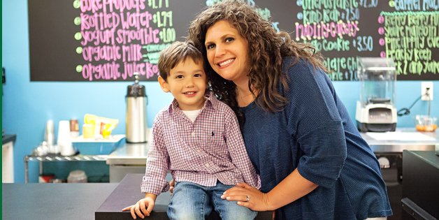 Business owner Sarah Lin with her son, Reid.