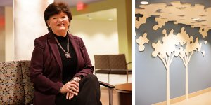 CEO Anita Vaughn sits in the new waiting room of Baptist's pediatric ER