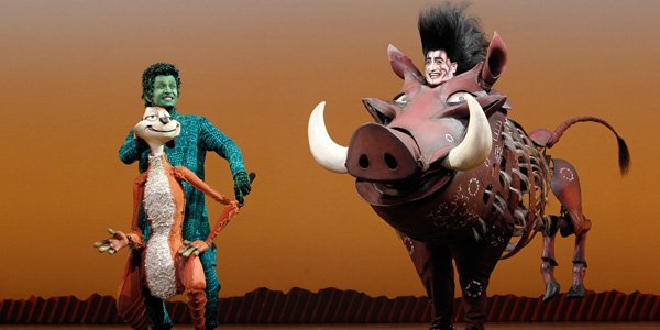 """Nick Cordileone as """"Timon""""and Ben Lipitz as """"Pumbaa"""" in THE LION KING National Tour. ©Disney.Above right: Nick and Hero."""