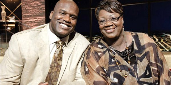 Shaquille O'Neal with mother, Lucille O'Neal