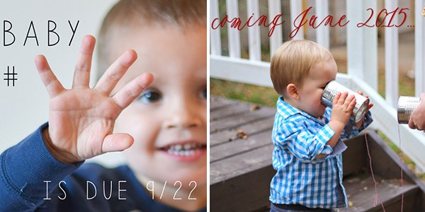 Left: Zimmerman baby announcement, right: Kassner baby announcement