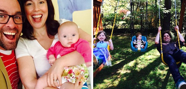 Left: Kenny and Holly Allen, with baby Lily June, Right: Matthew & Adrienne Timberlake with Ava (3) and Evelyn (11 mos.)