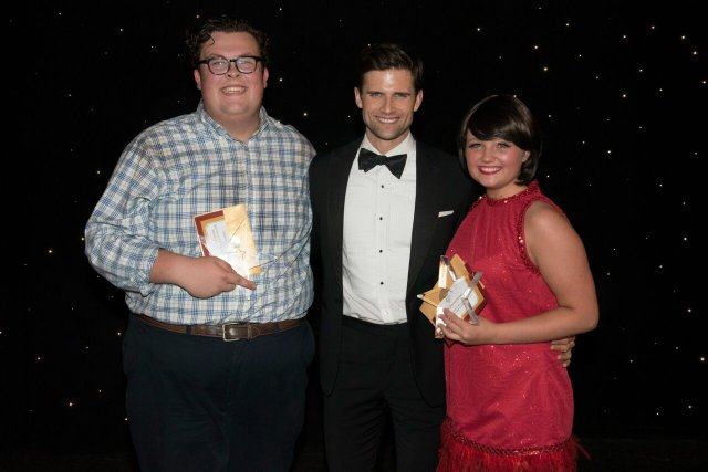 Maclean Mayers & Erica Peninger show off their High School Musical Awards with show host, Broadway actor Kyle Dean Massey