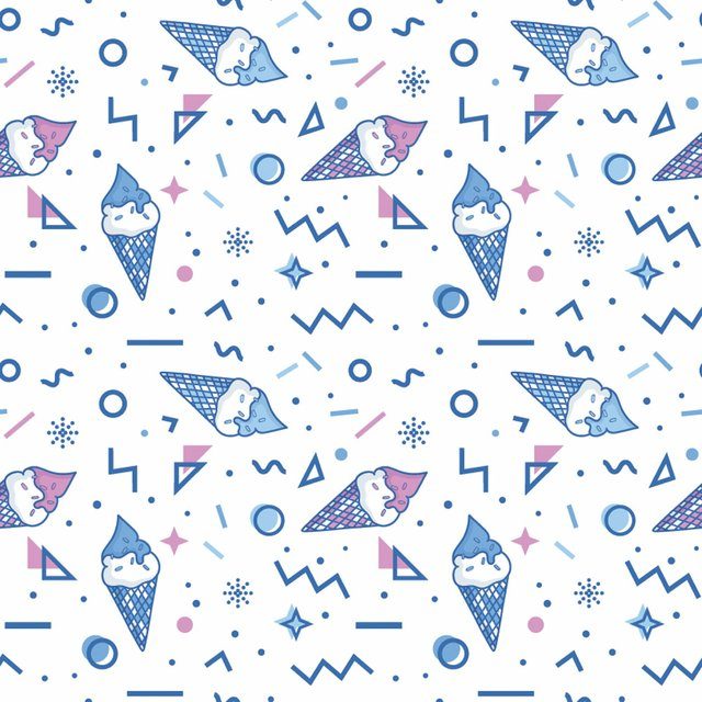 White, blue and pink memphis pattern with ice cream